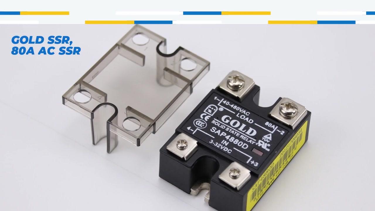 Ouro SSR, 80A AC SSR, Relé de Estado Sólido de Controle DC, Entrada 4-32VDC, entrada com indicação LED, capacidade de corrente 80A, tensão de saída 40-480VAC