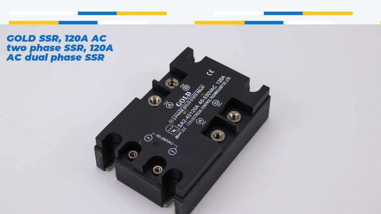 HighQuality Gold SSR, 120A AC สองเฟส SSR, 120A AC Dual เฟส SSR, AC ควบคุม AC โซลิดสเตตรีเลย์