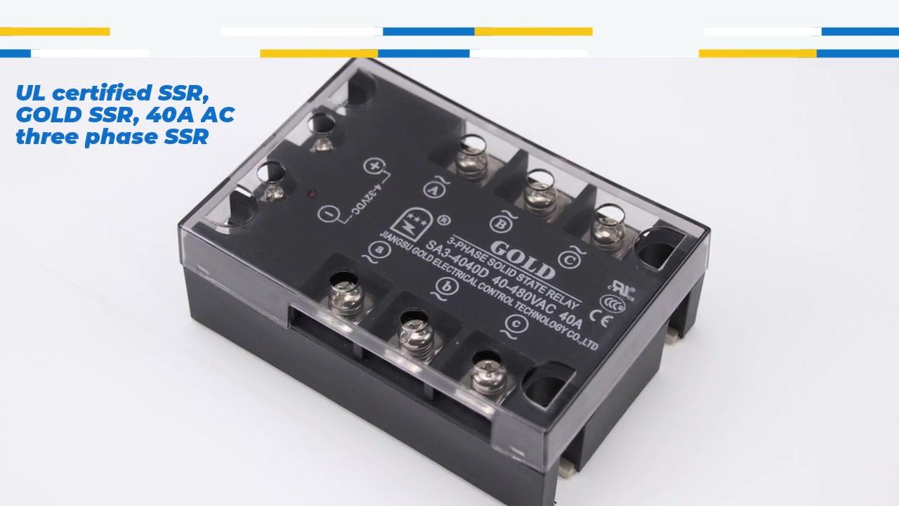 Ul Certified SSR, Золотой SSR, 40A AC Трехфазное SSR SSR, постоянное управление переменного тока твердотельного реле переменного тока, вход 4-32ВДК, вход со светодиодной индикацией, выходной тремя фазой, текущая мощность 40a, выходное напряжение 40-530Vac