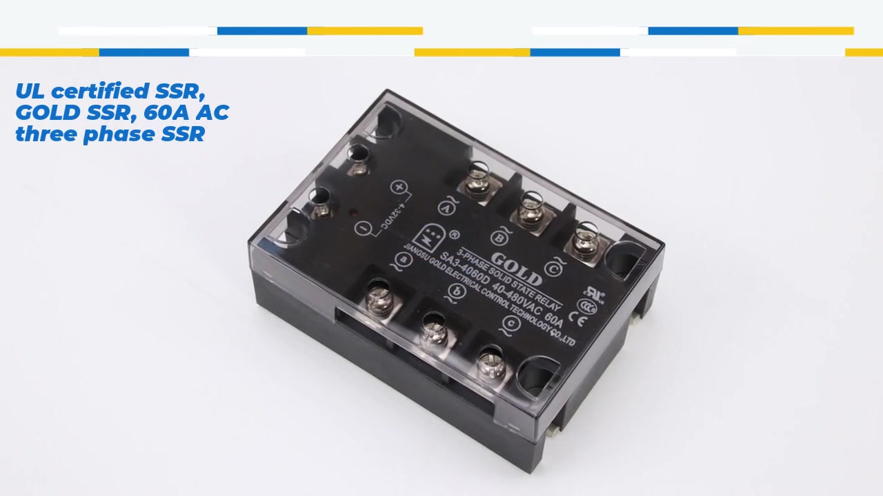 UL certified SSR, GOLD SSR, 60A AC three phase SSR / solid state relay