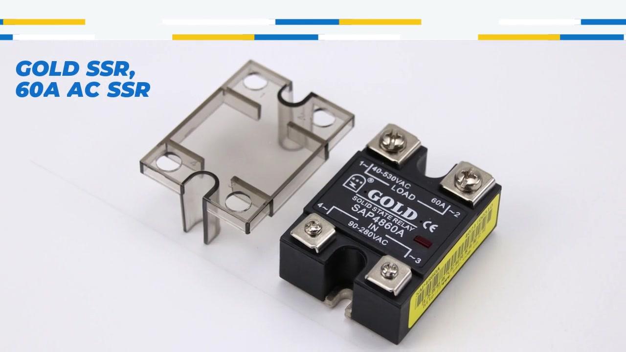 골드 SSR, 60A AC SSR, AC 제어 AC 고체 상태 릴레이, 입력 90-280VAC, LED 표시, 출력 전류 용량 60A, 출력 전압 40-480VAC