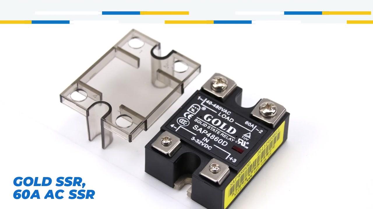 GOLD SSR, 60A AC SSR, การควบคุม DC AC Solid State Relay, อินพุต 4-32VDC, อินพุตที่มีการบ่งชี้ LED, เอาท์พุทปัจจุบันความจุ 60A, แรงดันเอาท์พุท 40-480VAC