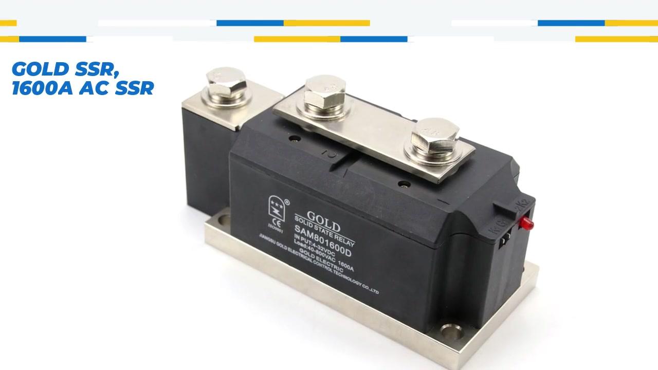 GOLD SSR, 1600A AC SSR, DC CONTROL CONTROL AC твердотельное реле, вход 4-32VDC, вход со светодиодной индикацией, выходной ток 1600A, выходное напряжение 40-800VAC
