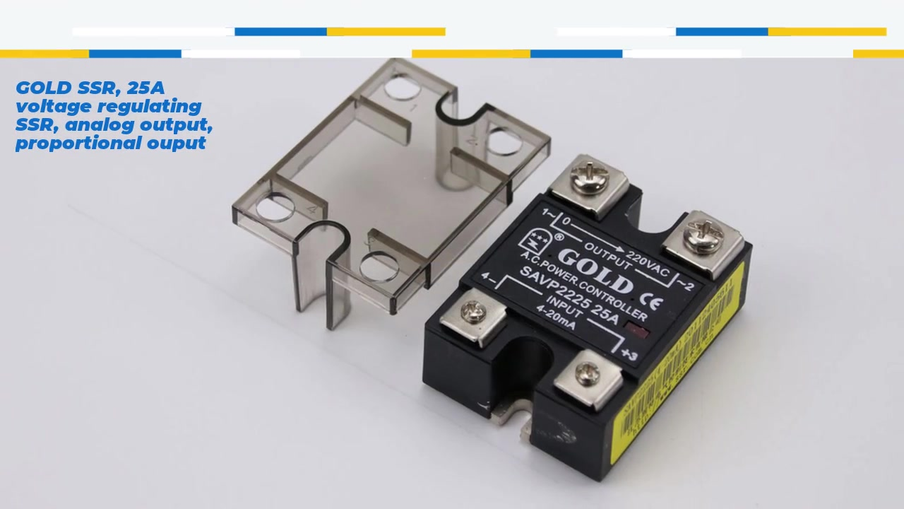 GOLD SSR, 25A voltage regulating SSR, analog output, proportional ouput, current control voltage solid state relay, input 4-20mA, input with LED indication, output current capacity 25A, output voltage 0-220VAC
