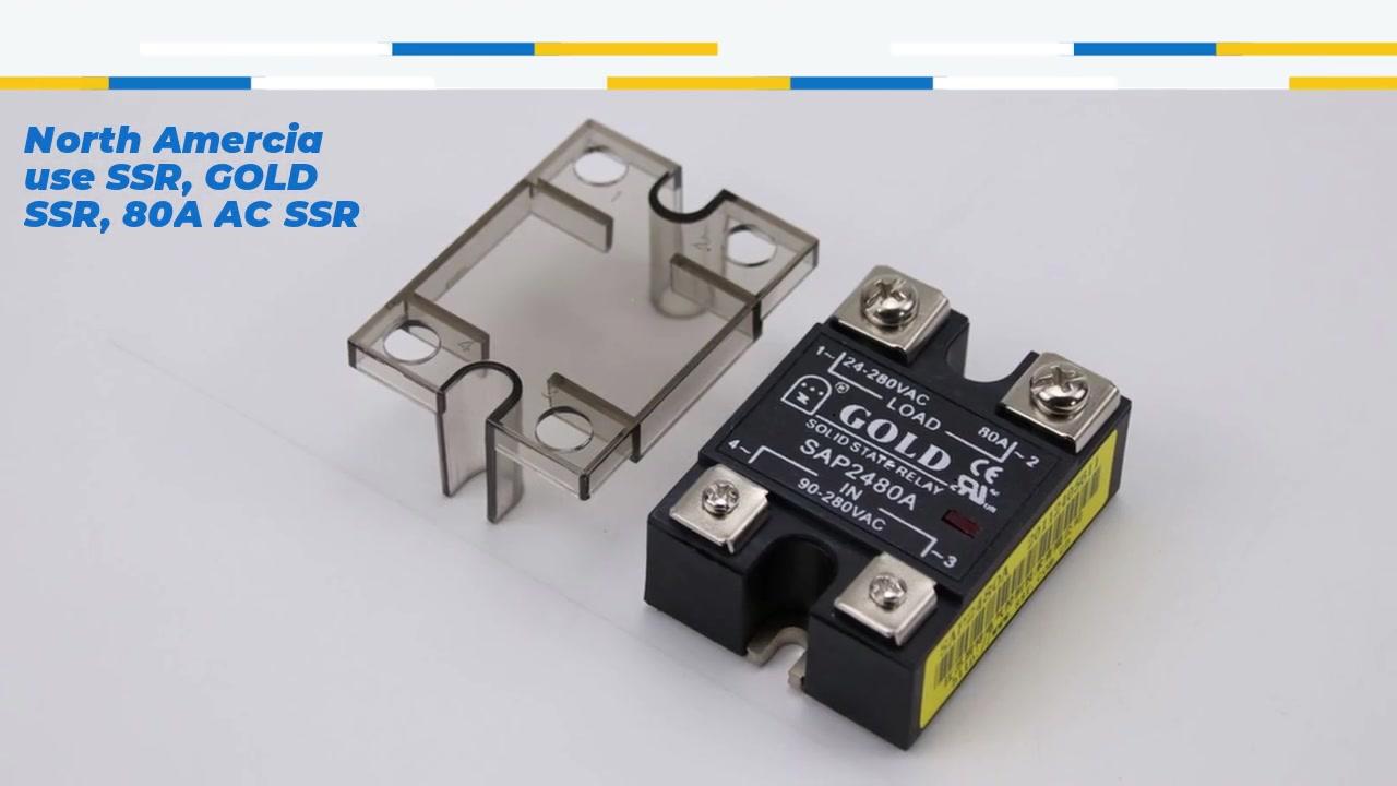 North Amercia usa SSR, Gold SSR, 80A AC SSR, Relé de Estado Sólido AC Controle CA, entrada 90-280VAC, entrada com indicação LED, capacidade de saída de corrente 80A, tensão de saída 24-280VAC