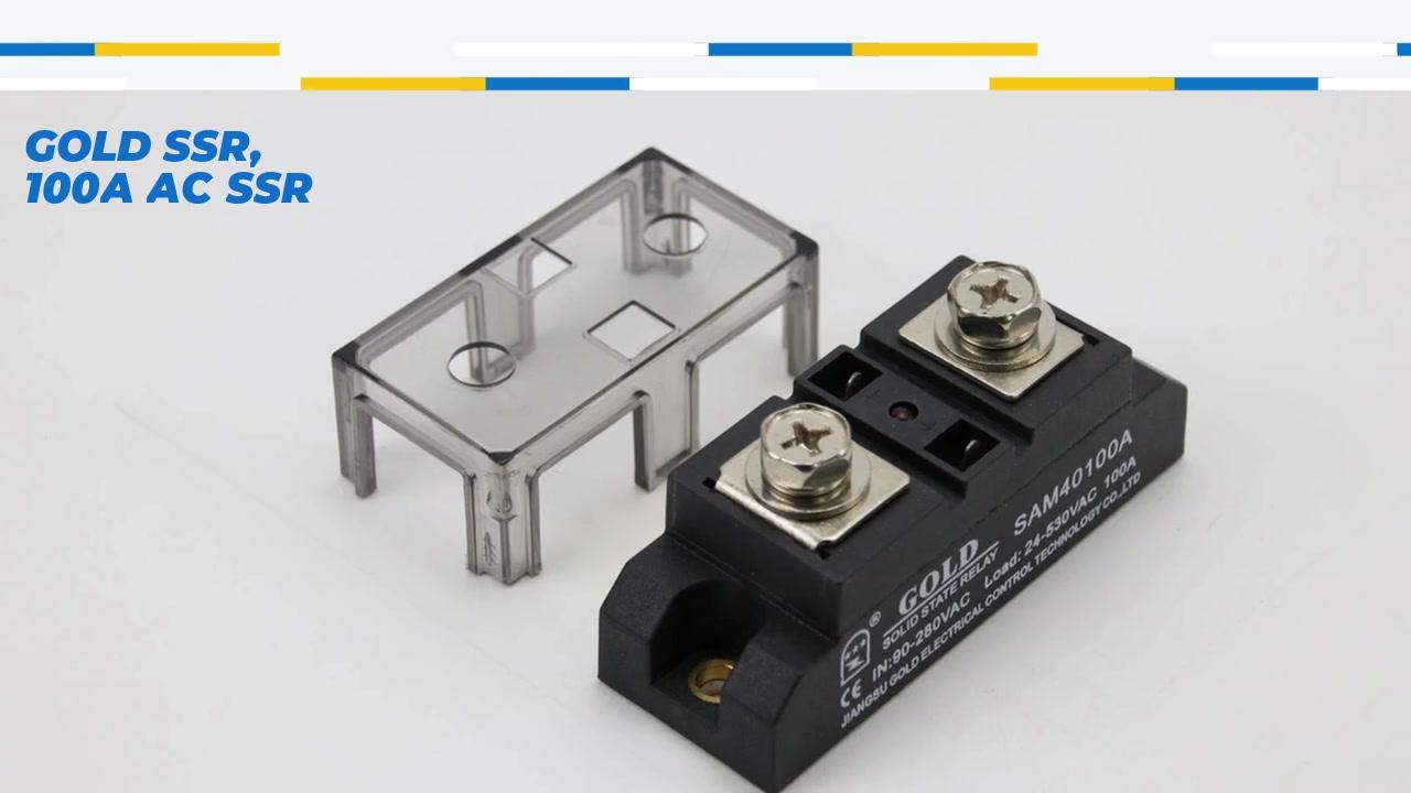 골드 SSR, 100A AC SSR, AC 제어 AC 고체 상태 릴레이, 입력 90-280VAC, LED 표시, 출력 전류 용량 100A, 출력 전압 24-530VAC