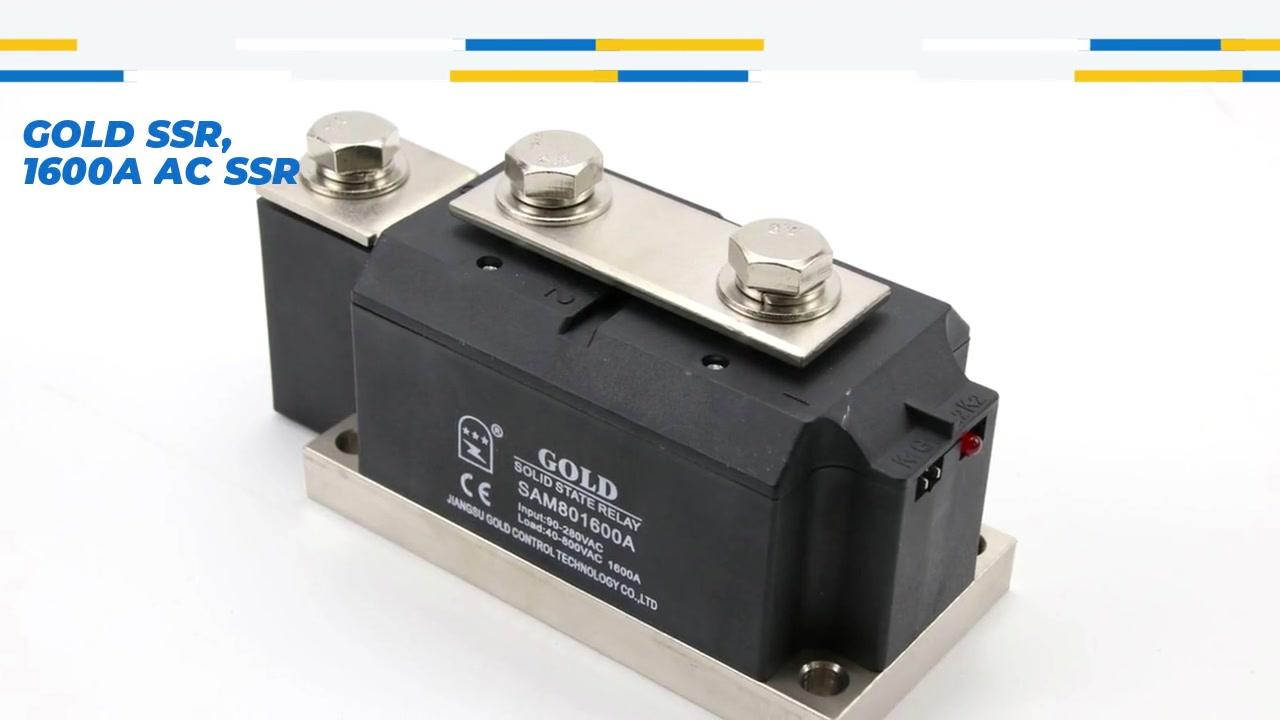 골드 SSR, 1600A AC SSR, AC 제어 AC 고체 상태 릴레이, 입력 90-280VAC, LED 표시, 출력 전류 용량 1600A, 출력 전압 40-800VAC