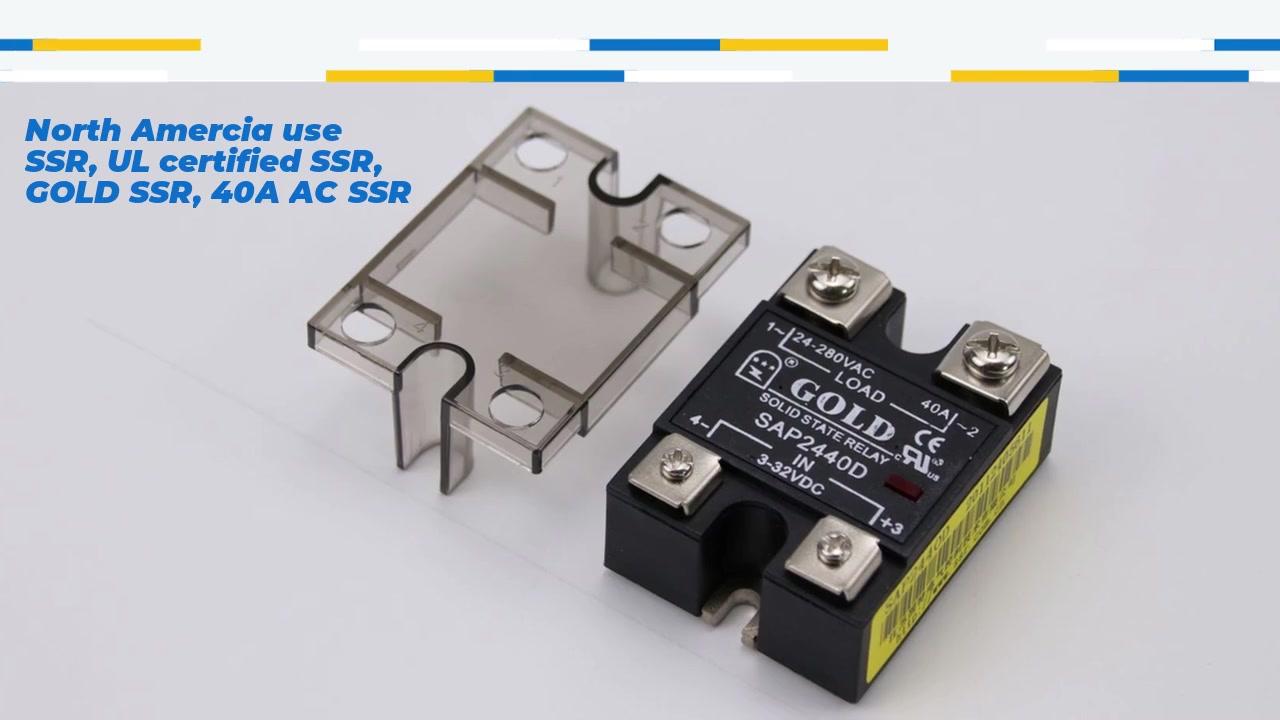 North Amercia ใช้ SSR, UL ได้รับการรับรอง SSR, Gold SSR, 40A AC SSR, การควบคุม DC AC Solid State Relay, อินพุต 4-32VDC, อินพุตที่มีการบ่งชี้ LED, เอาท์พุทปัจจุบันความจุ 40A, แรงดันไฟฟ้าในปัจจุบัน 40A