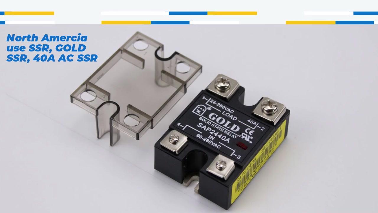 Bắc Amercia Sử dụng SSR, Gold SSR, 40A AC SSR, AC KIỂM SOÁT AC Rơle trạng thái rắn, đầu vào 90-280VAC, đầu vào với chỉ báo LED, công suất hiện tại đầu ra 40A, điện áp đầu ra 24-280VAC