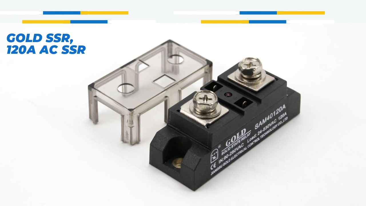 Altın SSR, 120A AC SSR, AC kontrolü AC katı hal rölesi, 90-280VAC girişi, LED göstergesi olan giriş, çıkış akımı kapasitesi 120A, çıkış voltajı 24-530VAC