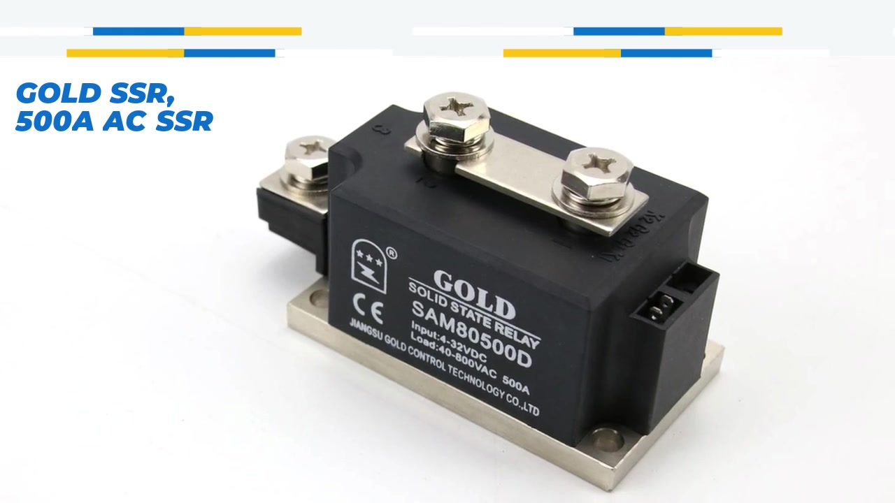 GOLD SSR, 500A AC SSR, DC control AC solid state relay, input 4-32VDC, input with LED indication, output current capacity 500A, output voltage 40-800VAC