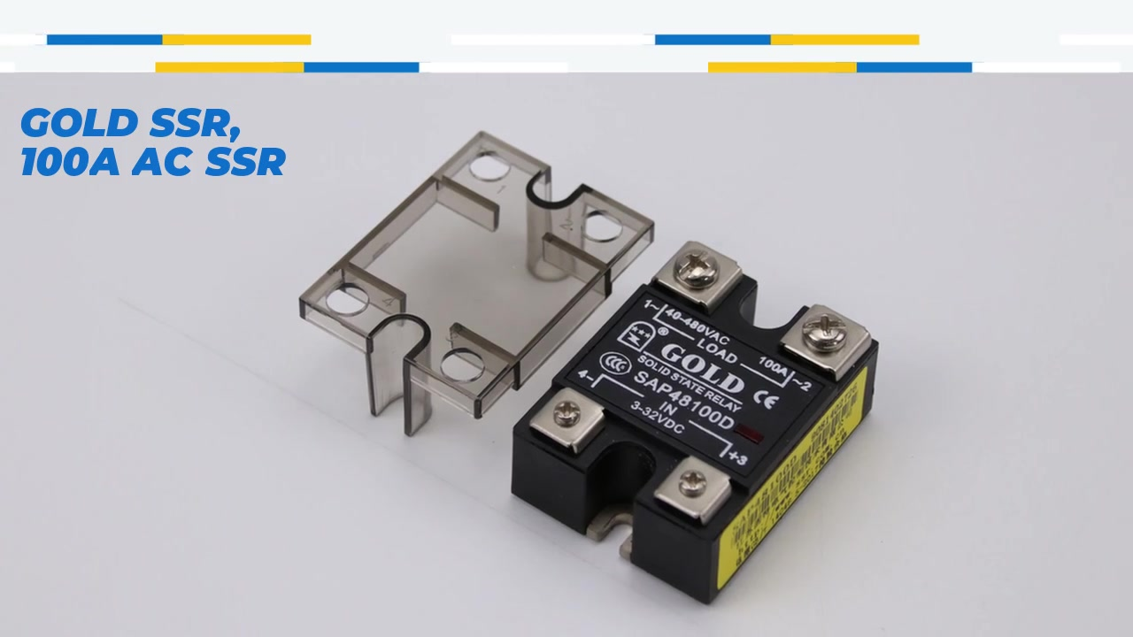 GOLD SSR, 100A AC SSR, DC control AC solid state relay, input 4-32VDC, input with LED indication, output current capacity 100A, output voltage 40-480VAC