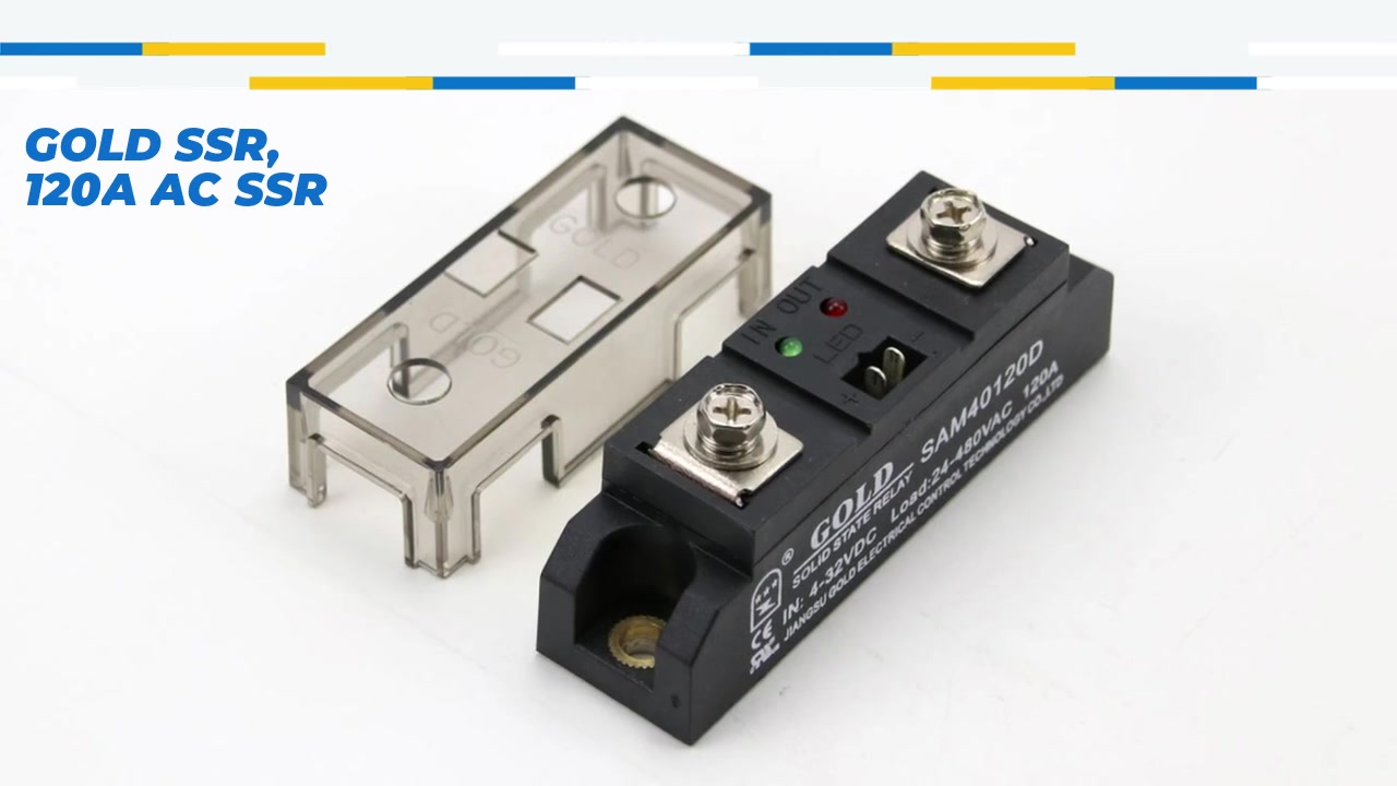 GOLD SSR, 120A AC SSR, DC control AC solid state relay, input 4-32VDC, input with LED indication, output current capacity 120A, output voltage 24-480VAC
