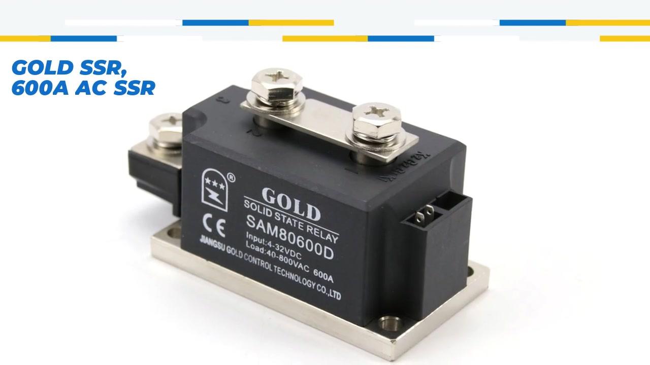 Gold SSR, 600A AC SSR, DC Control AC Solid State Relay, Eingang 4-32VDC, Eingang mit LED-Anzeige, Ausgangsstromkapazität 600A, Ausgangsspannung 40-800VAC