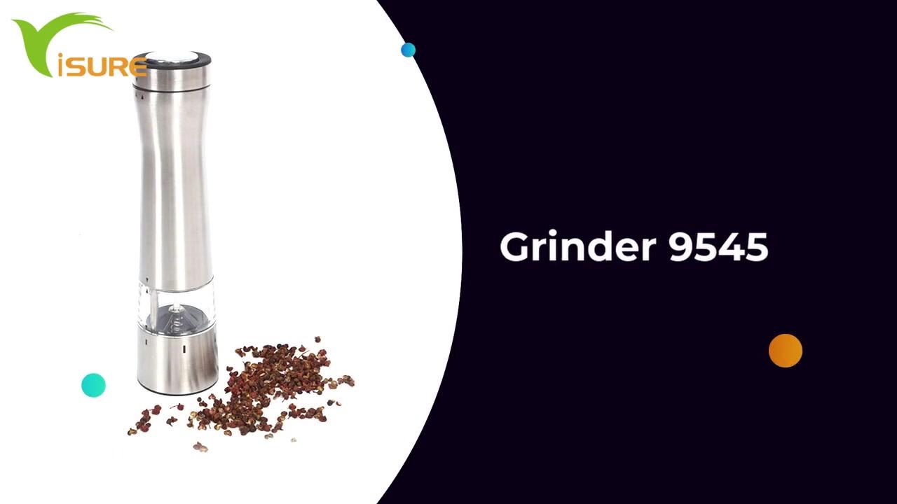 Neoksidebla ŝtala baterio funkciigis kuirejan ilon, Gadgets Gar Electric Salo kaj Pepper Mill Fiksita kun LED-Lumo 9545