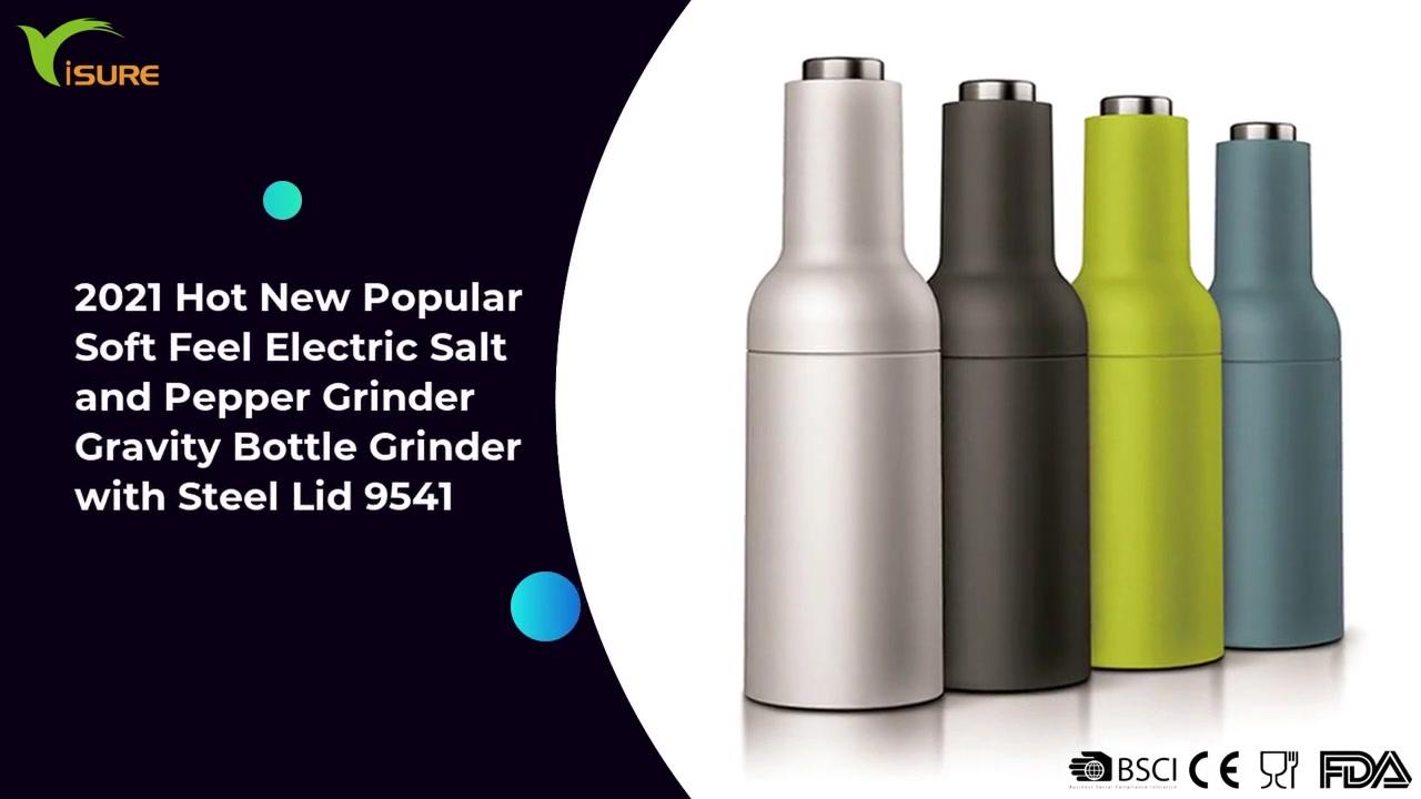 2021 Hot New Popular Soft Feel Electric Spice Grinder Gravity Bottle Grinder With Steel Lid 9541