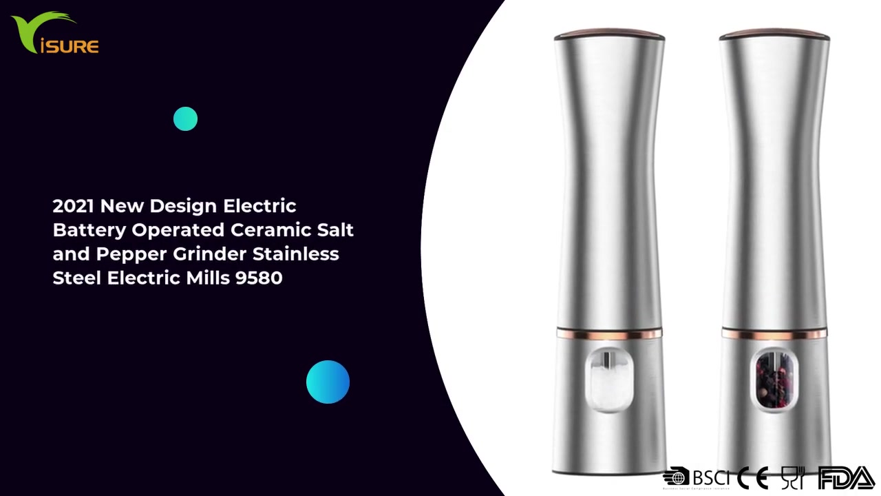 2021 New Design Battery Operated Ceramic Electric Pepper Mill Stainless Steel 9580