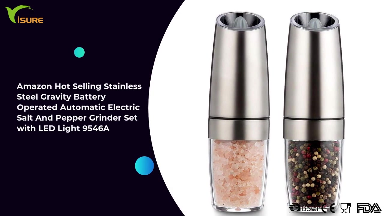 Amazon Hot Selling Stainless Steel Gravity Battery Operated Automatic Electric Salt And Pepper Grinder Set with LED Light 9546A